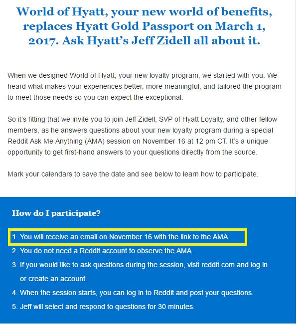 world of hyatt ama invitation