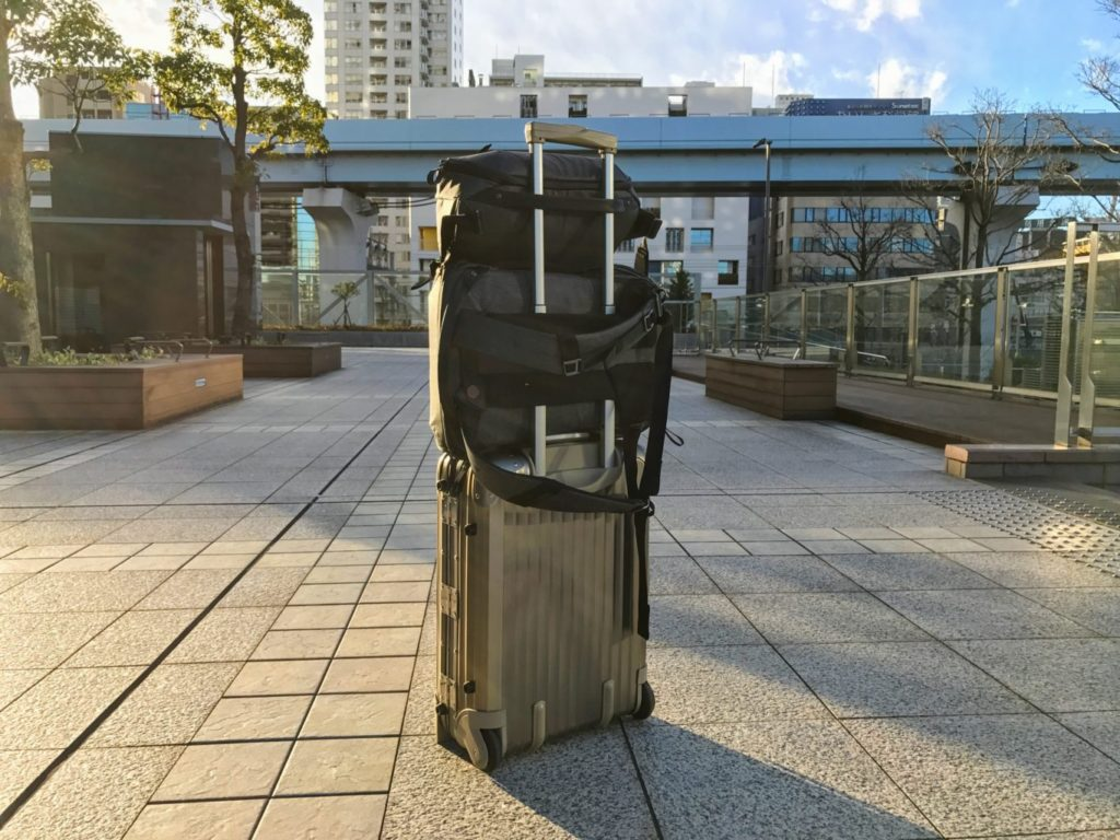 everydaybackpack sling docked with rimowa back