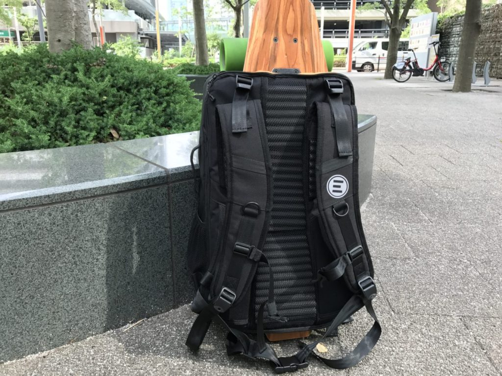 evolve backpack skateboard attached