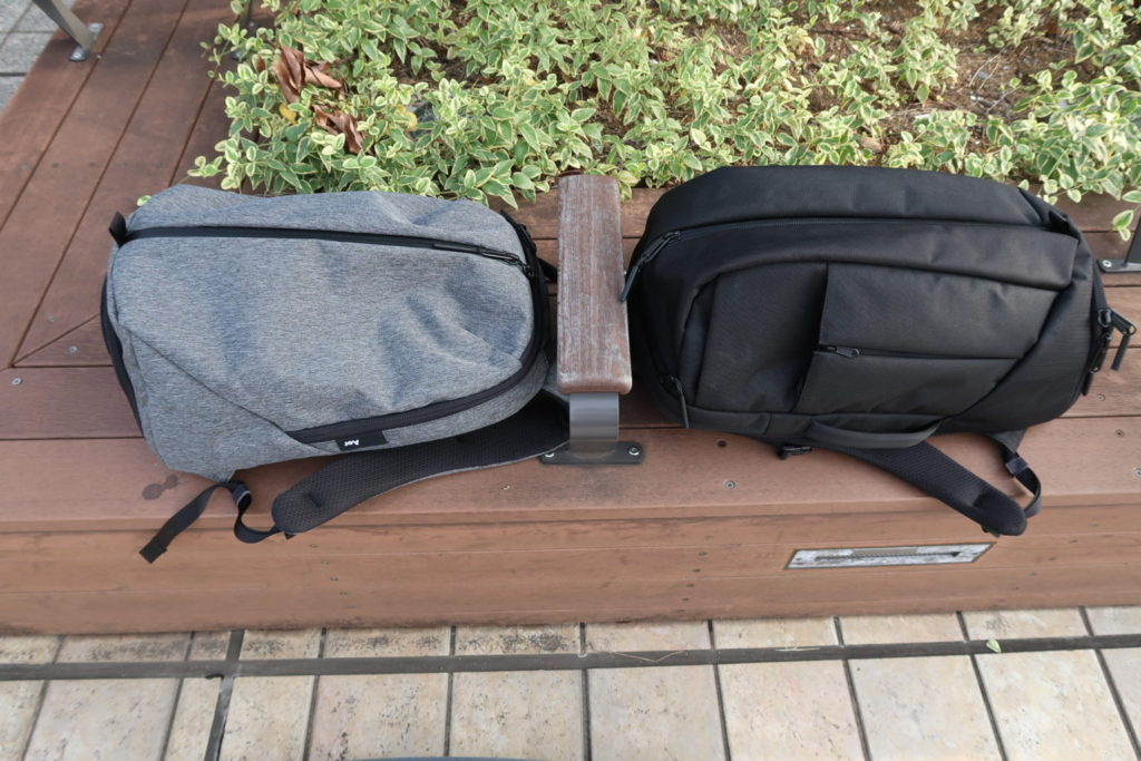 aer fit pack 2 and duffel pack side by side