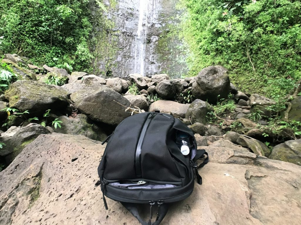 aer duffel pack water fall