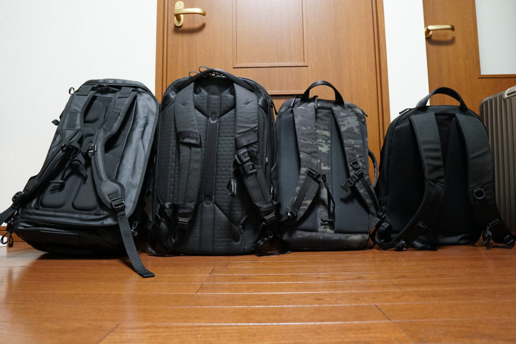 4 backpack lineup from the back