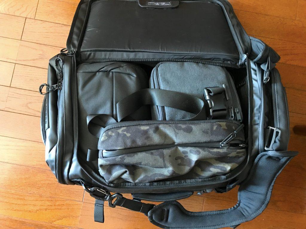 hexad duffel with stuff inside